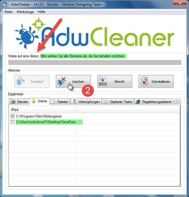 AdwCleaner Funde löschen