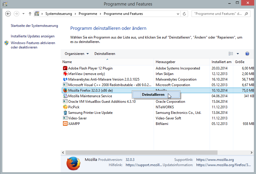 Windows-Programme entfernen